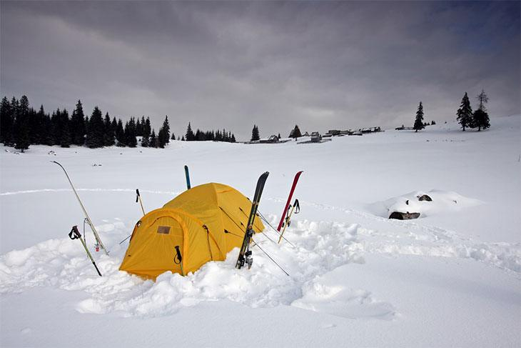 Remove all the snow before putting up the tent