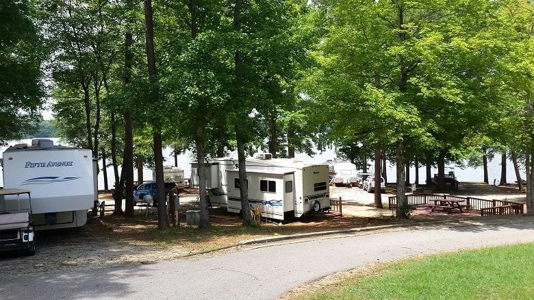RVing on lake