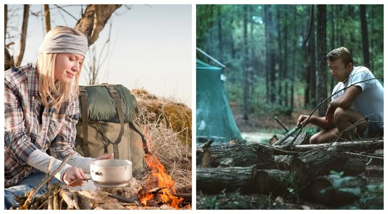 Woman And Man On Solo Camping